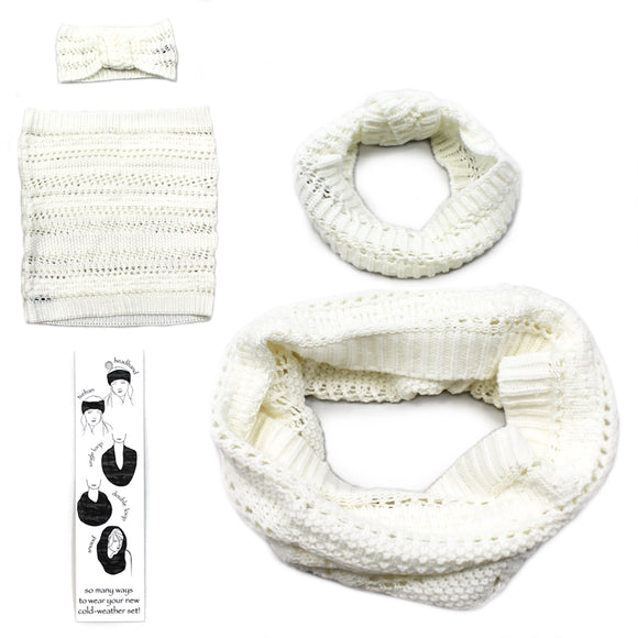 Womens Copper Key Cold Weather Winter Set Scarf Headband Band White