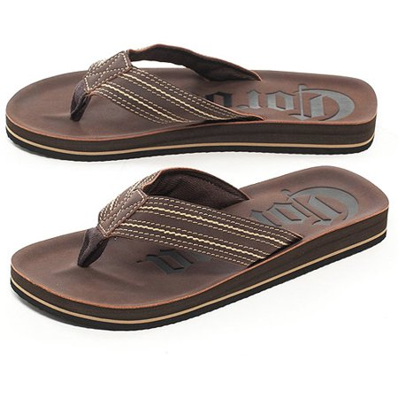 Mens Brown Corona Beer Thong Flip Flops