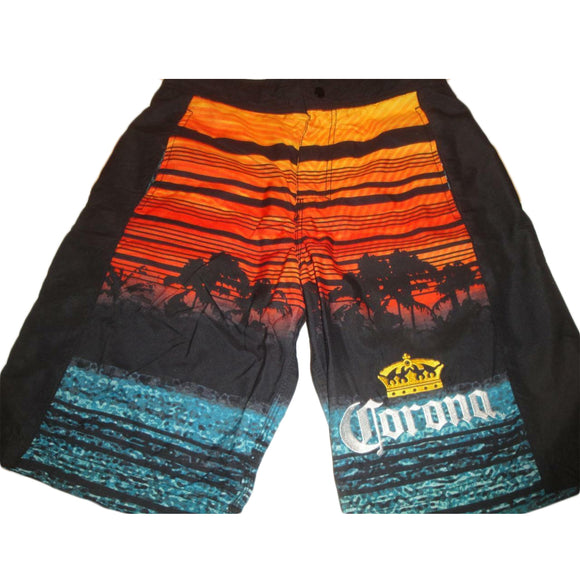 Mens Corona Extra Crown Sunset Board Shorts Swim Trunks