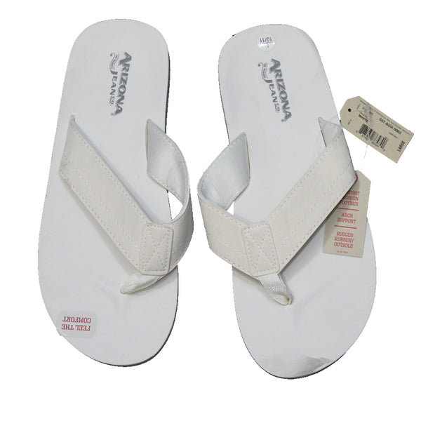 Adult White Cream Arizona Jeans Co Thong Flip Flop Sandals