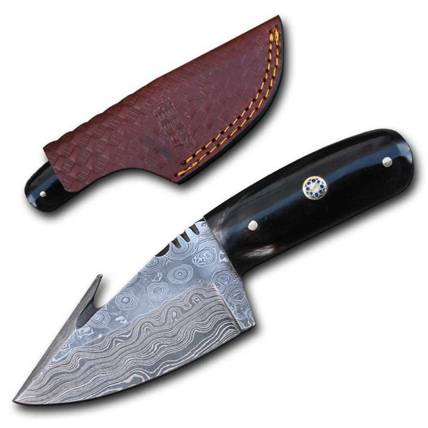 DC 5252-BHDB Buffalo Horn Handle Skinning Knife with Leather Sheath