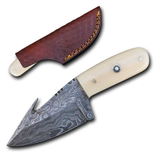 DC 5252-BNDB Bone Handle Skinning Knife with Leather Sheath
