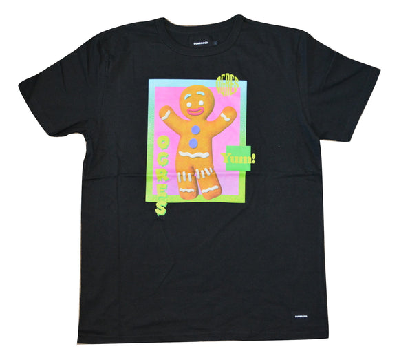 Mens Black Dumbgood Shrek Gingerbread Man Graphic Tee T-Shirt