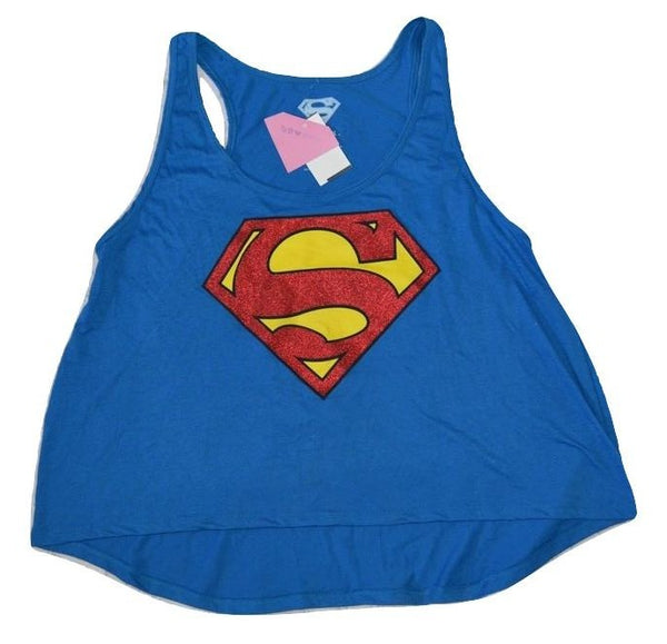 Womens Juniors Blue Sparkle Superman Graphic Tank