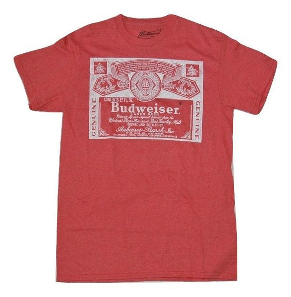 Men's Red Heather Budweiser Beer Graphic Tee T-Shirt
