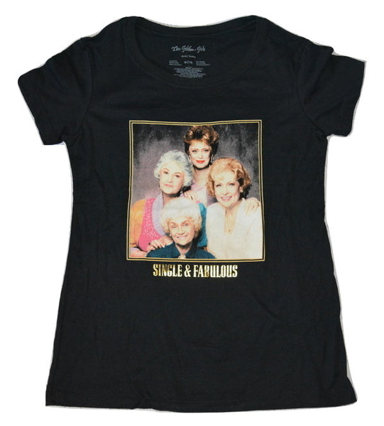 Womens Juniors Black Golden Girls Single & Fabulous Graphic Tee T-Shirt