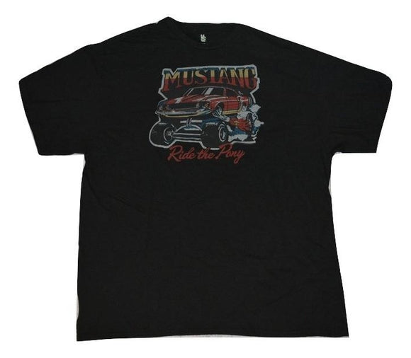 Mens Black Ford Mustang Ride the Pony Graphic Tee T-Shirt
