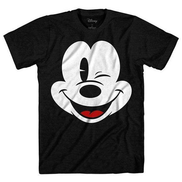 Mens Black Classic Mickey Mouse Wink Graphic Tee T-Shirt