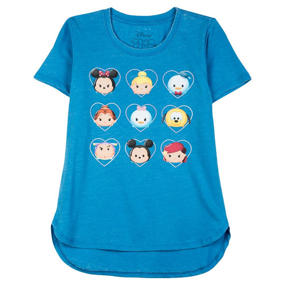 Disney Tsum Tsum High-Low Hem Girls Shirt Turquoise