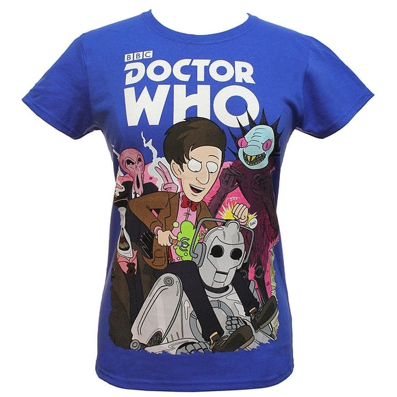 Womens Blue Doctor Who Juniors 11th Doctor's Monsters And Villains Licensed Tee T Shirt