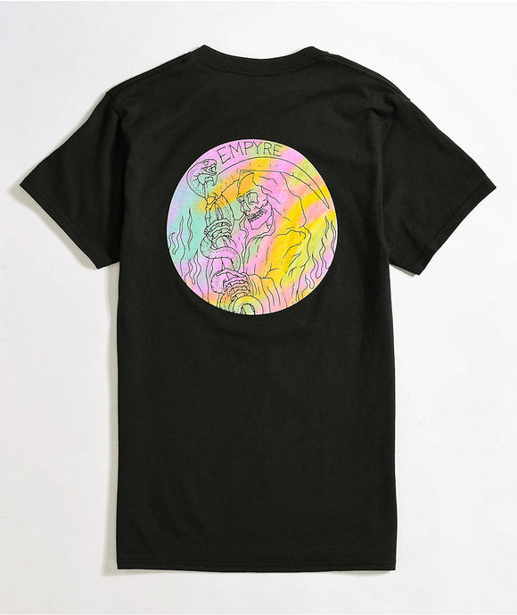 Women Junior's Empyre Weary Rainbow Back Graphic Black T-Shirt Tee
