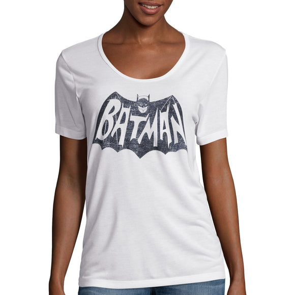 Womens Juniors White Batman Boyfriend Tee T-Shirt