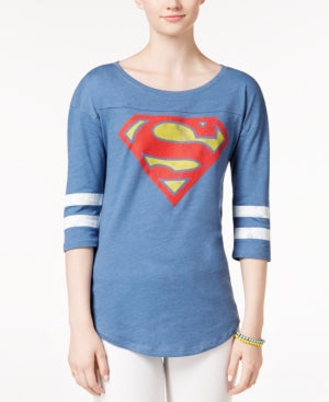 Womens Juniors Blue Superman Logo Raglan Tee T-Shirt