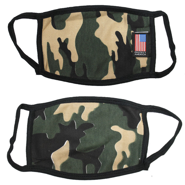 120 PCS Camo 2-Layer Protect America Washable Face Mask Reusable 100% Cotton