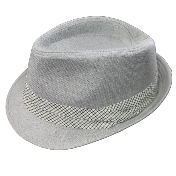 Adults Grey Curved Brim Fedora Hat