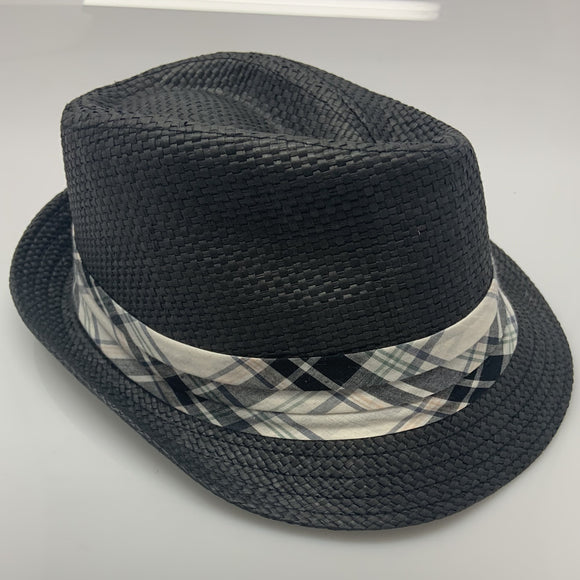 Mens Dark Woven Free Authority Plaid Band Fedora