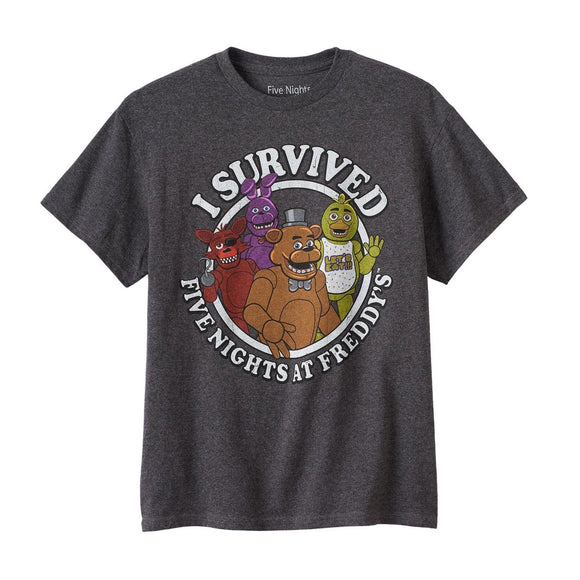 Mens Charcoal I Survived Five Nights at Freddy's Tee T Shirt