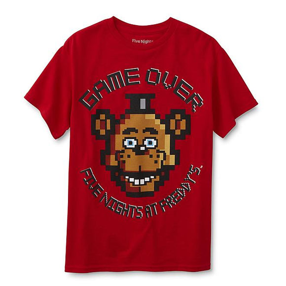 Mens Red Five Nights At Freddy's Dame Over Pixel Tee T-Shirt