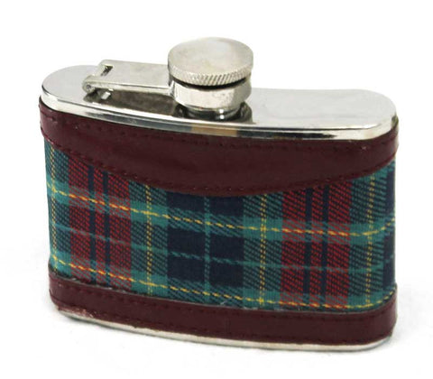 FX 643 4oz hip flask w/ leather and tartan cover