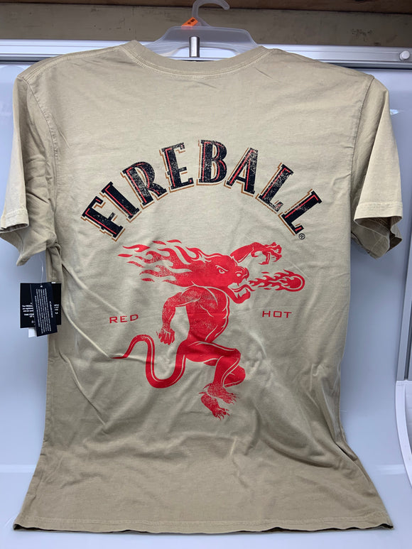 Mens Beige Fireball Whiskey Faded Logo Back Print Tee T-Shirt