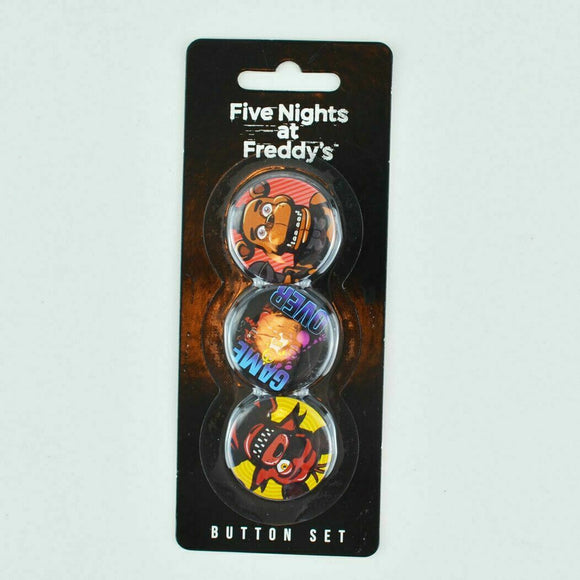 Five Nights At Freddy's 3 Button Set FNAF Freddy Fazbears Pizzeria Collectible