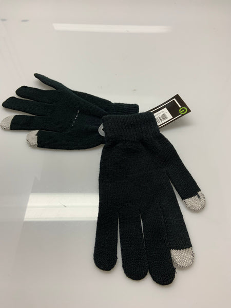 Womens Free Authority Knit Contrast Gloves Black