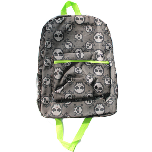 Kids Grey & Neon Green Skull AOP Backpack