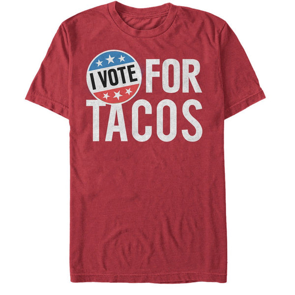 Mens Red I Vote For Tacos Tee T shirt