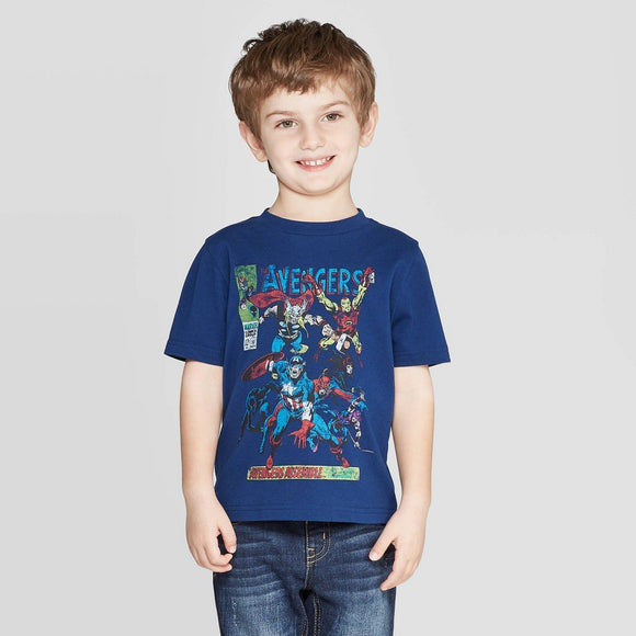 Boys Blue Marvel Avengers Faded Graphic Tee T-Shirt