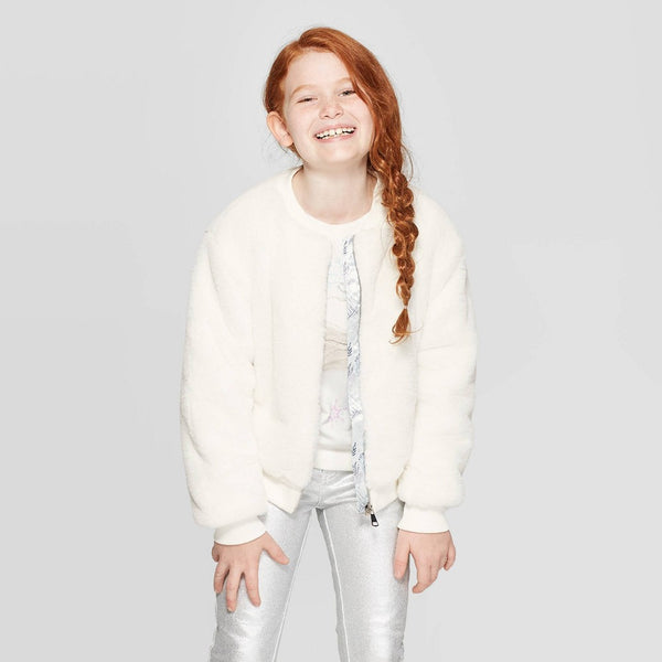 Girls Youth Frozen 2 Faux Fur Bomber Jacket White