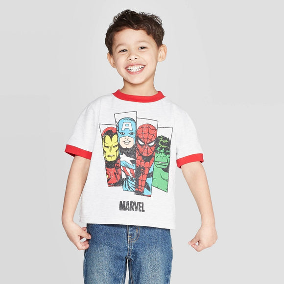 Boys Toddler White Ringer Marvel Avengers T-Shirt Tee