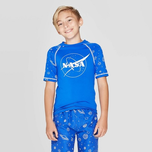 Boys Nasa Logo Planets Rash Guard Swim Shirt Tee Blue