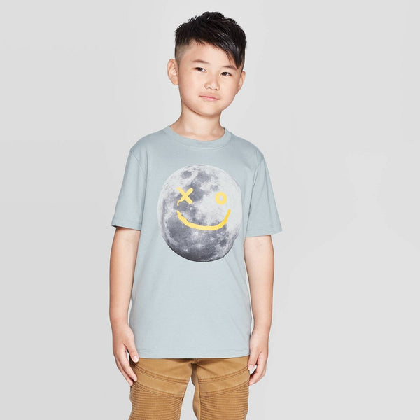 Boys Youth Blue Smiley Face Moon Graphic T-Shirt Tee