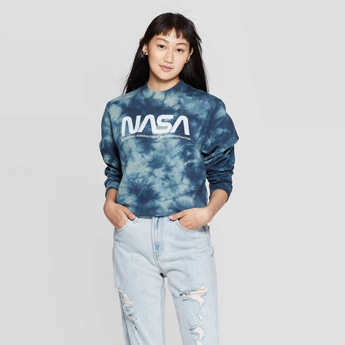 Women's Juniors NASA Tie-Dye Graphic Cropped Sweatshirt