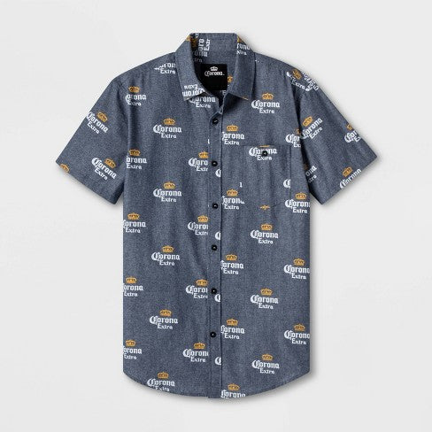 Men's Corona Extra Short Sleeve Graphic Button-Down Shirt