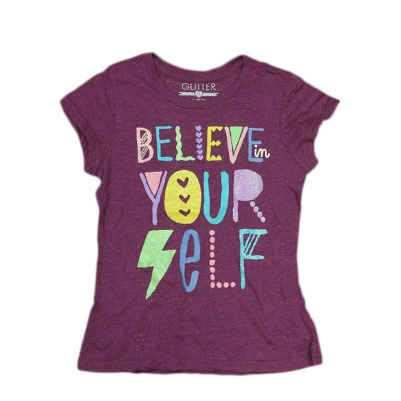 Girls Youth Purple Sparkle Glitter Believe Your Self Tee T Shirt