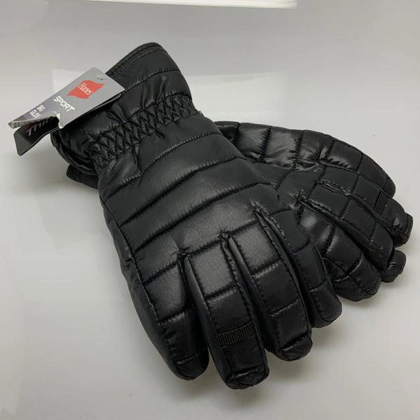 Adult Black Quilted Hanes Snow Winter Gloves