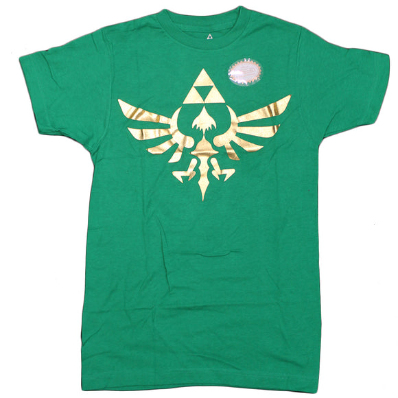 Mens Green Gold Foil Breathe Of The Wild Video Game Nintendo Logo Tee T-Shirt