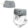 Grey Silver Flower Knit Headband Women Ear Warmers Crochet Head wrap