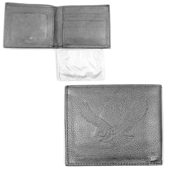 Grey Leather Eagle Wallet with Removable Picture Holder