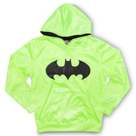 Boys Youth Neon Yellow Batman Logo Pullover Hoodie