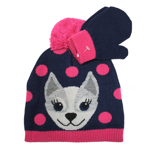 Girls Youth Puppy Navy & Pink Beanie with Gloves