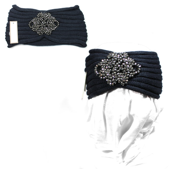 Navy Blue Bling Flower Knit Headband Women Ear Warmers Crochet Head wrap