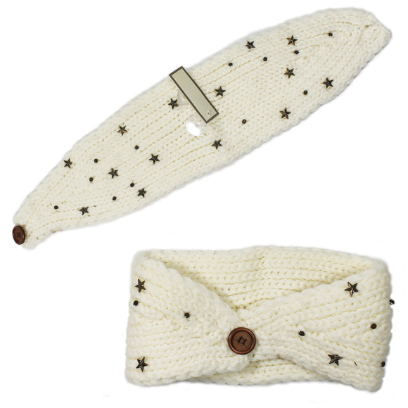 Women White Stars Button Knit Headband Warmers Crochet Head wrap