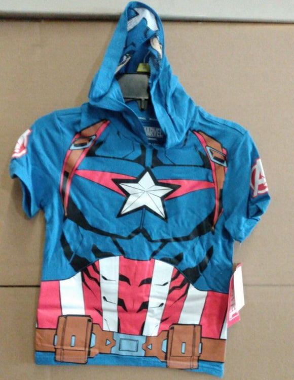 Marvels Captain America Hooded T-Shirt with Built In Jersey Mask