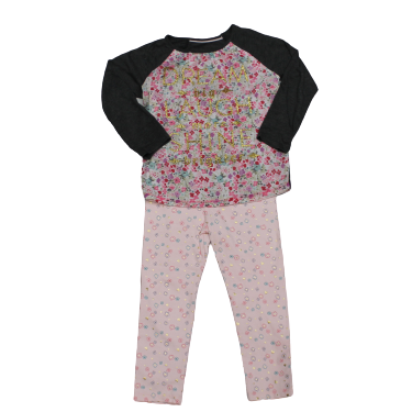 Girls Toddlers Gray Pink Dream Big Pajama Shirt & Bottoms Set
