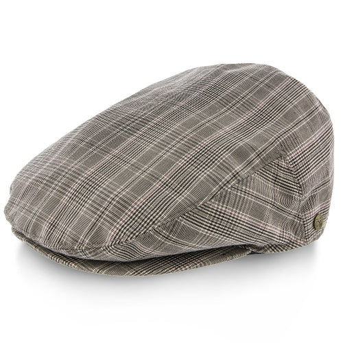 Mens Gray Plaid Flannel Driving Cap Hat