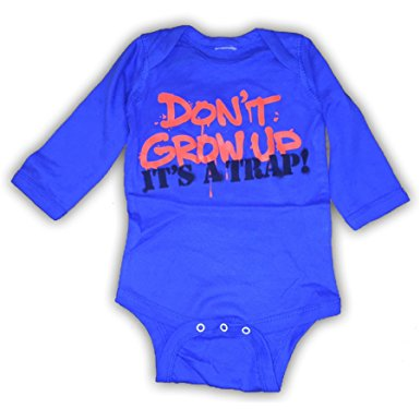 Don't Grow Up One Piece Infant Romper, Royal Blue