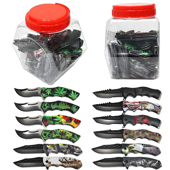 JR 6080-24 Folding Knife Display Jar 4.5