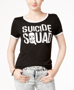 Womens Juniors Black Suicide Squad Logo Tee T-Shirt